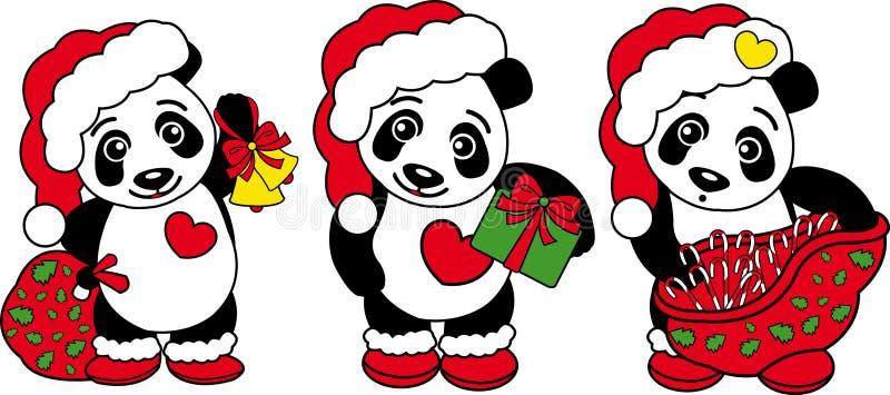 Three Christmas Panda Bear! royalty free stock image