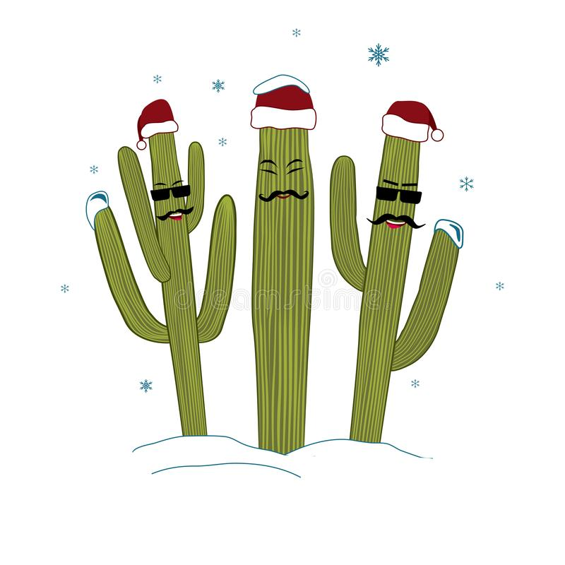 Three Christmas Saguaro Cactuses. Winter in tropical climate concept. Three cacti friend in Santa Hats royalty free illustration