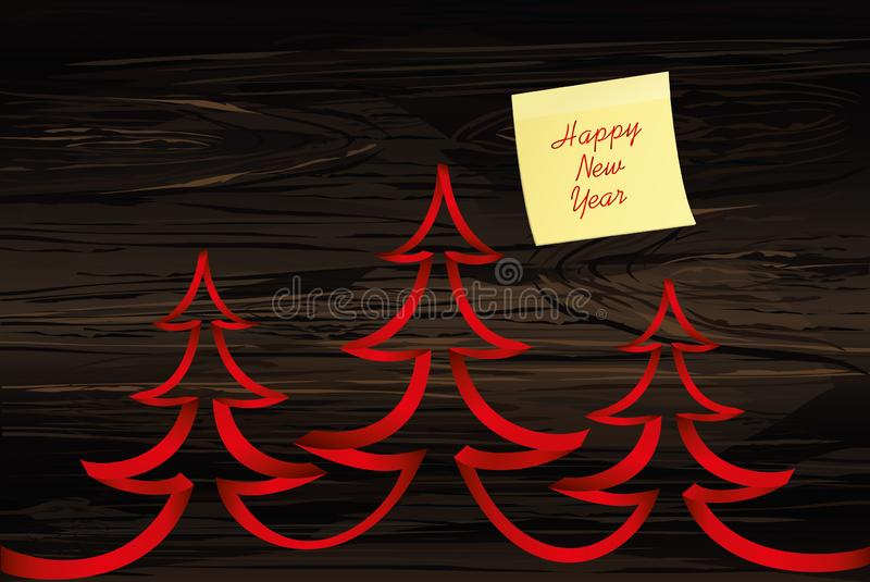 Three christmas tree of red ribbon. Vector on wooden background. Greeting card for the holiday new year. Empty space for text or advertising. Yellow sheet of royalty free illustration