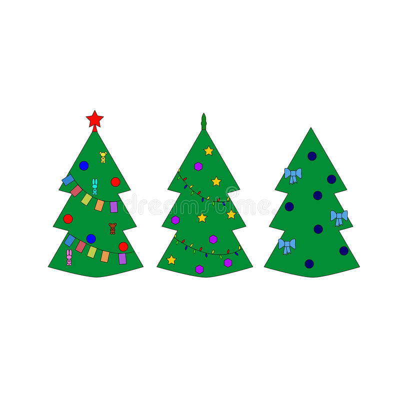 Three christmas trees royalty free illustration