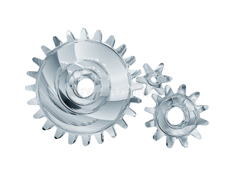 Three chrome gears. An illustrated view of three inter-meshed chrome gears or cogs stock illustration