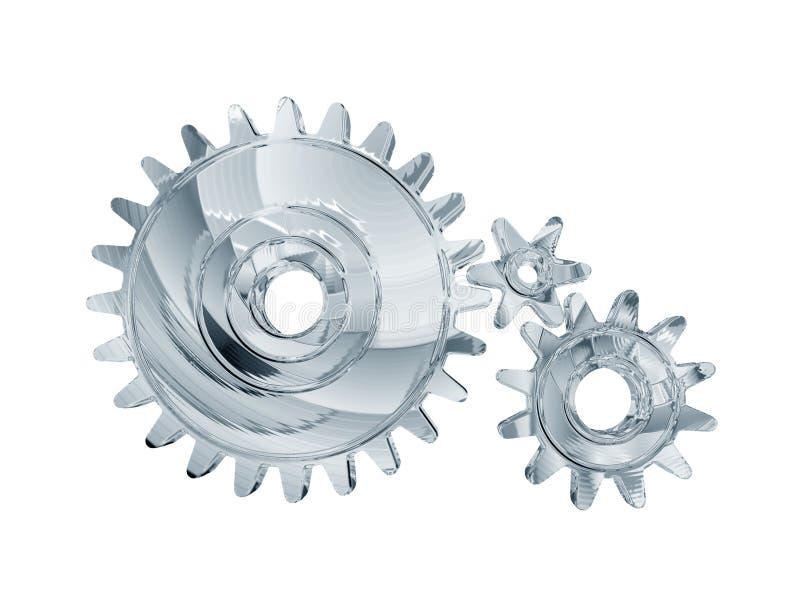 Three chrome gears stock illustration
