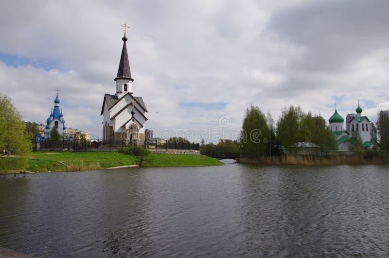 Three churches stock photography
