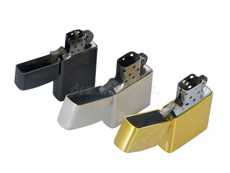 Three cigarette lighters stock photos