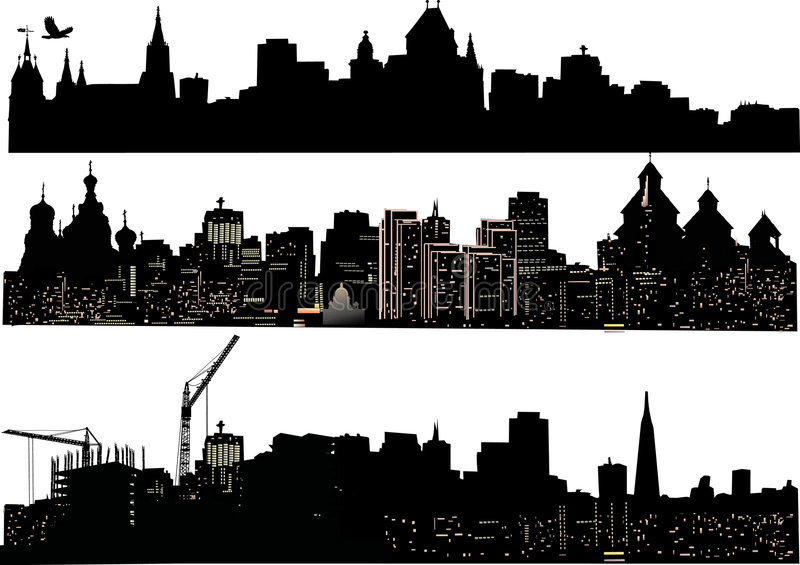 Download Three cities silhouettes stock illustration. Image of built - 8340562
