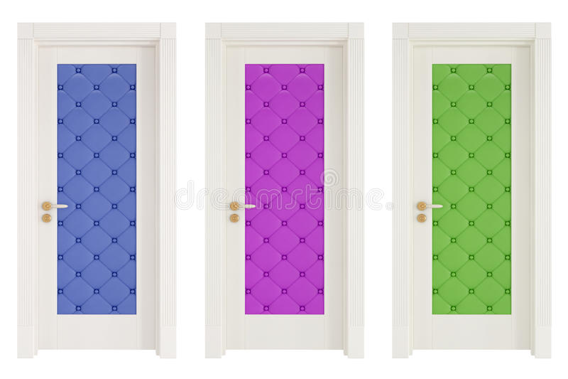 Download Three Classic Doors With Leather Upholstery Stock Illustration - Illustration of elegant, doorway: 27477572