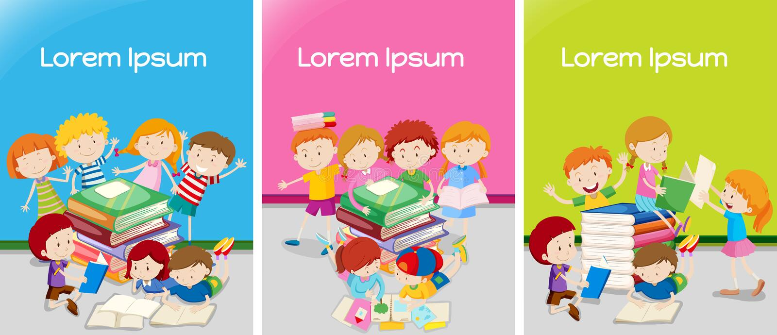 Three classrooms with students learning stock illustration
