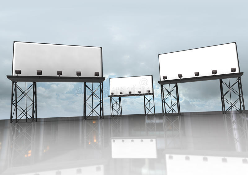 Download Three Clear Billboards Construction Stock Illustration - Image: 25975937