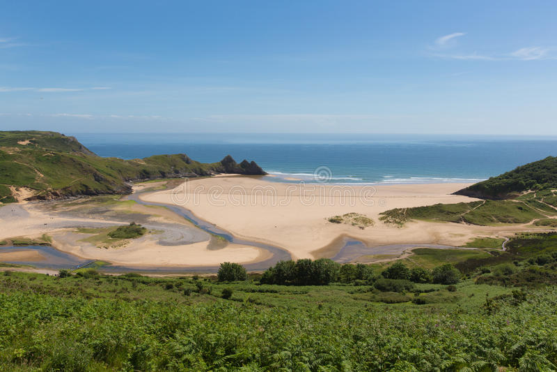 Three Cliffs Bay south coast the Gower Peninsula Swansea Wales uk stock image
