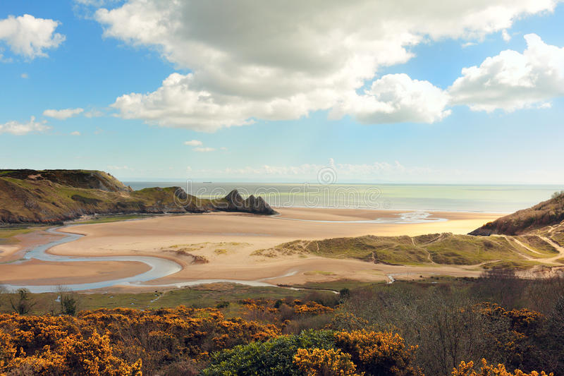 Three Cliffs bay in Wales royalty free stock photography