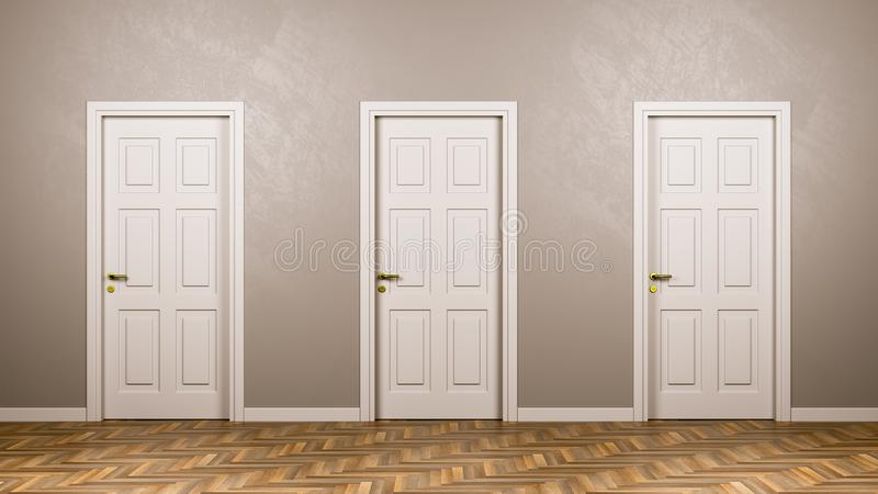 Three Closed White Doors in Front in the Room royalty free illustration