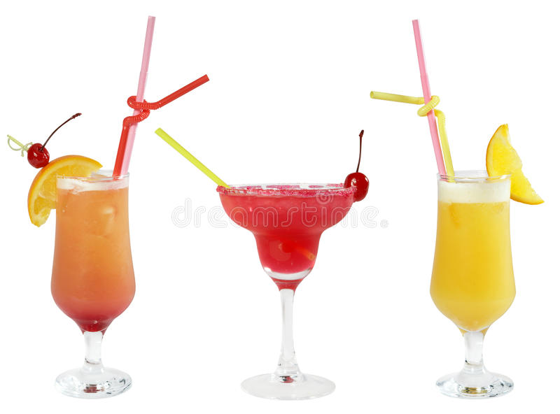 Three cocktails. Isolated on a white background stock image