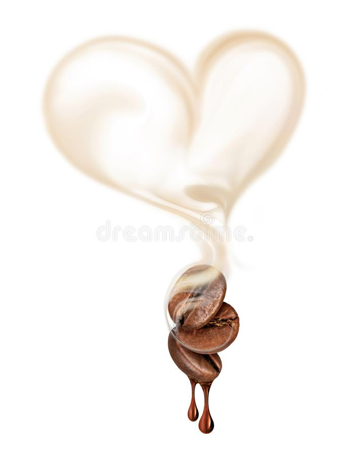 Three coffee beans with hot steam in the shape of a heart c stock photos