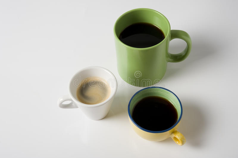 Three Coffee Cups Stock Photography