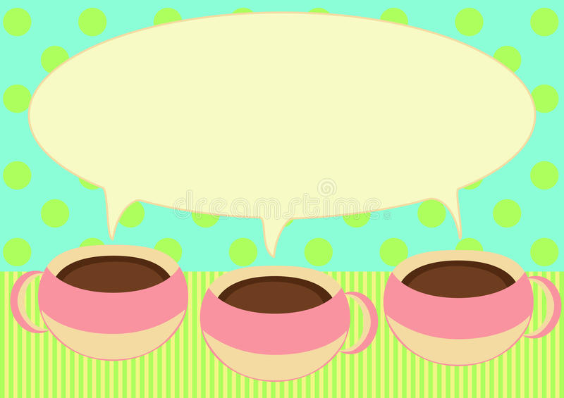 Download Three Coffee Cups Talking Invitation Card Stock Illustration - Illustration: 24911801