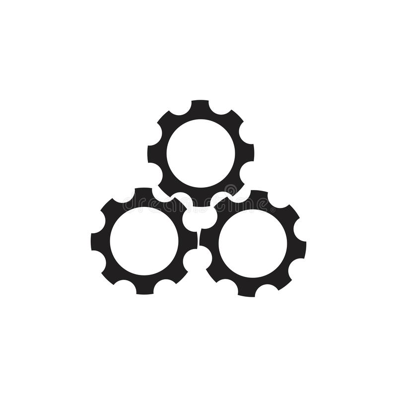 Three cog machine symbol logo vector vector illustration