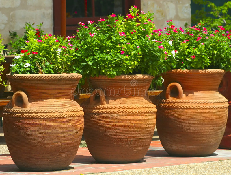 Download Three Coiled Clay Pots 2 stock image. Image of green, earthenware - 1093563