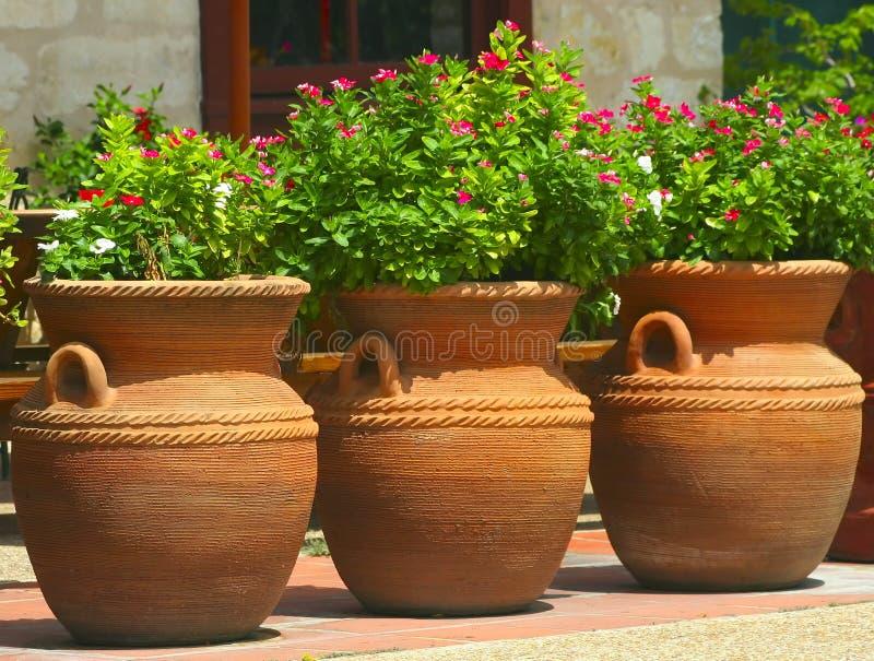 Three Coiled Clay Pots 2 stock photos