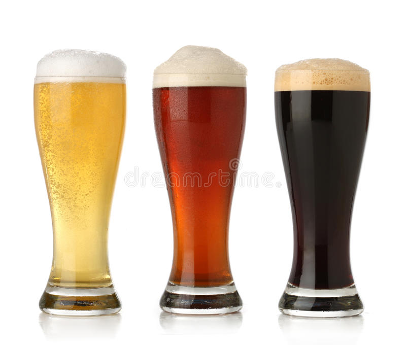 Three cold beer, isolated stock photo