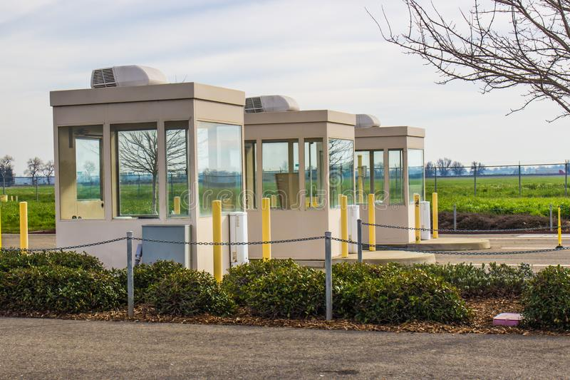 Three Collection Booths In A Row. Three Empty Collection Booths In A Row royalty free stock photo