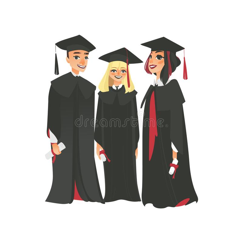 Three college graduates in graduation cap and gown. Group of three happy college graduates in graduation cap and gown, holding diplomas, flat vector illustration stock illustration