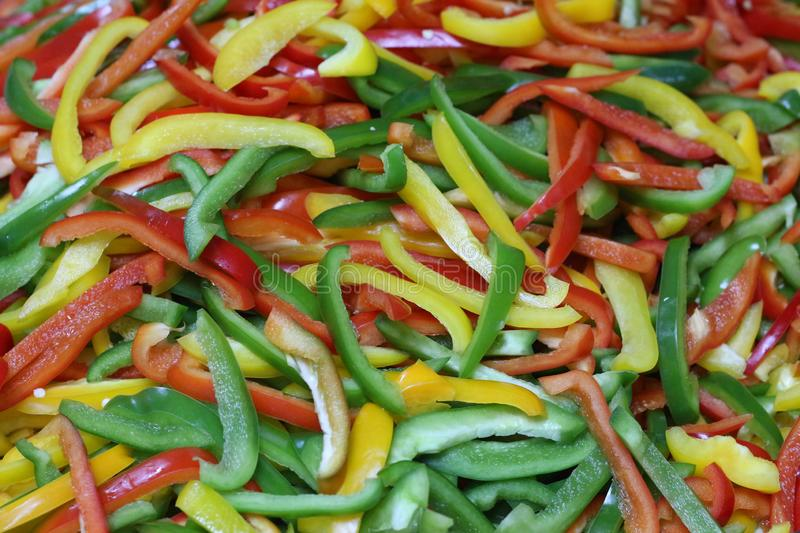 Three color bell peppers stock image