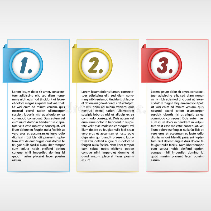 Three color card. Illustration of three color card with place for customer text royalty free illustration