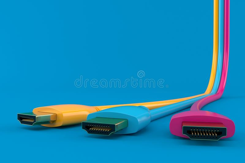 Three colored HDMI cables. Three color. 3d illustrationed HDMI cables isolated on blue background. 3d illustration royalty free illustration