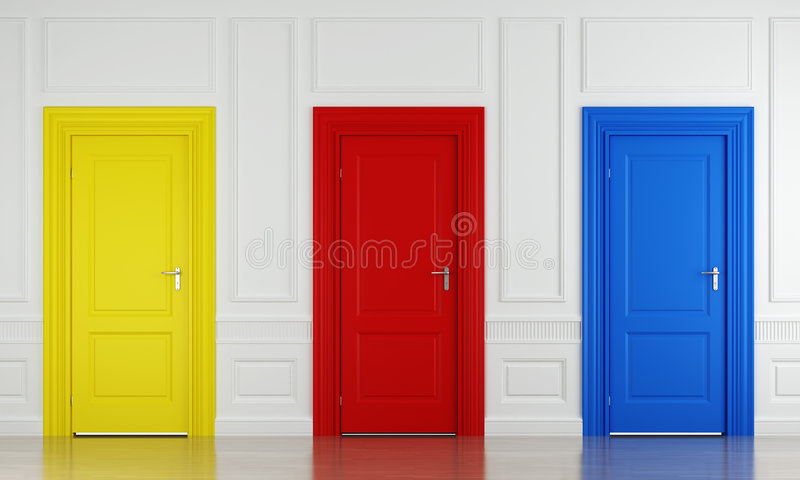 Three color doors. 3d scene with three color doors in a wall as concept for choice or luck