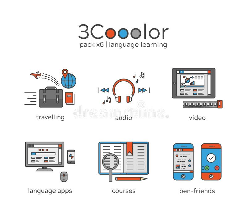 stylized three color graphic language learning icon set of six items stock illustration