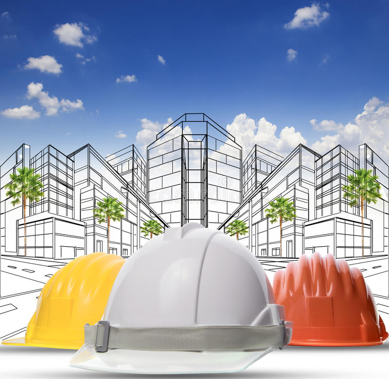 Three color of safety construction protective helmet on white ba royalty free stock photo