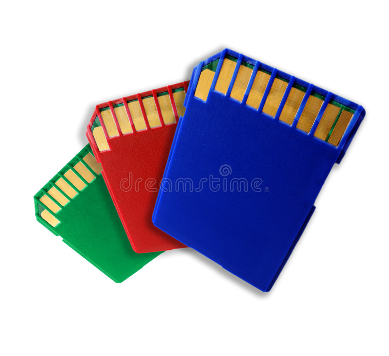 Three color SD memory cards royalty free stock photography