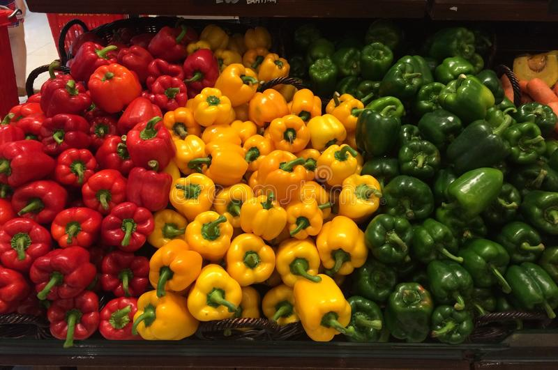 Three color of sweet pepper stock photography