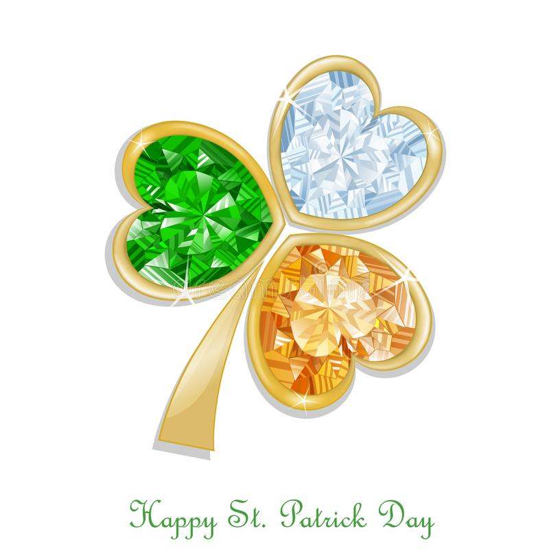 Three colored clover diamond for St. Patrick`s day vector illustration