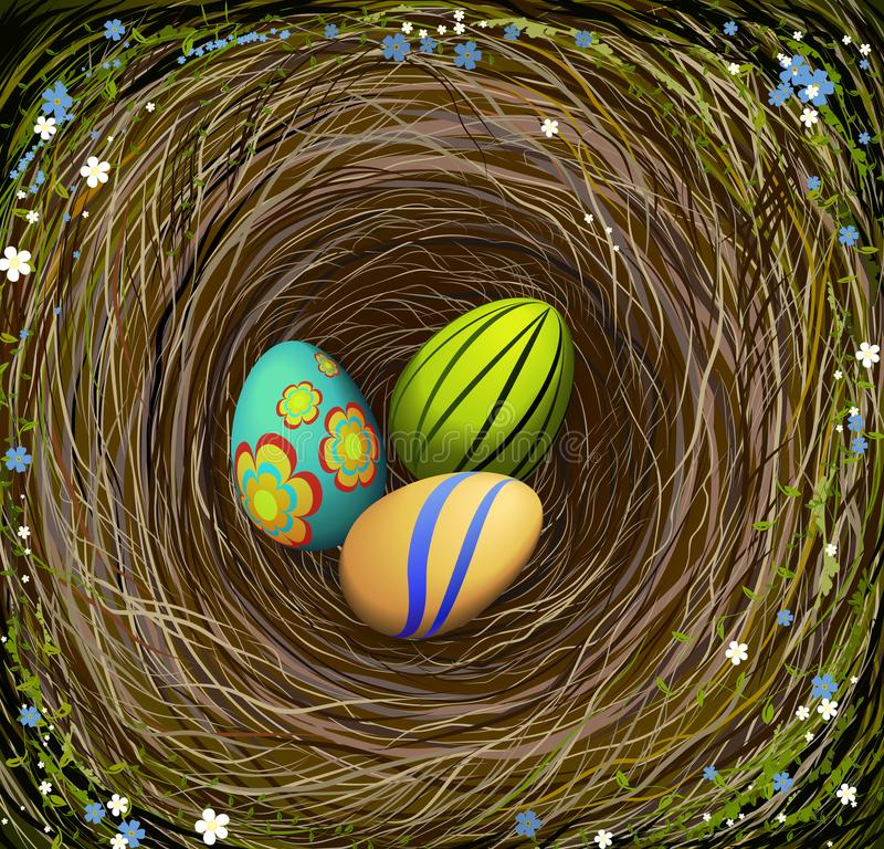 Three colored Easter s eggs in the nest with hay, decorated with blue and white flowers, Easter composition, royalty free illustration