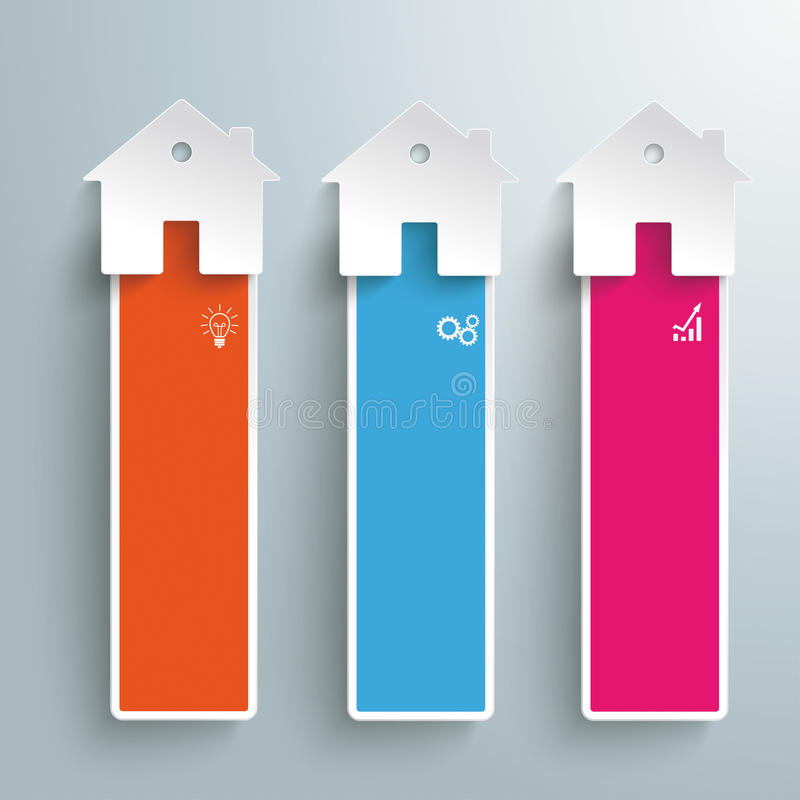 Three Colored Homes Oblong Banners vector illustration