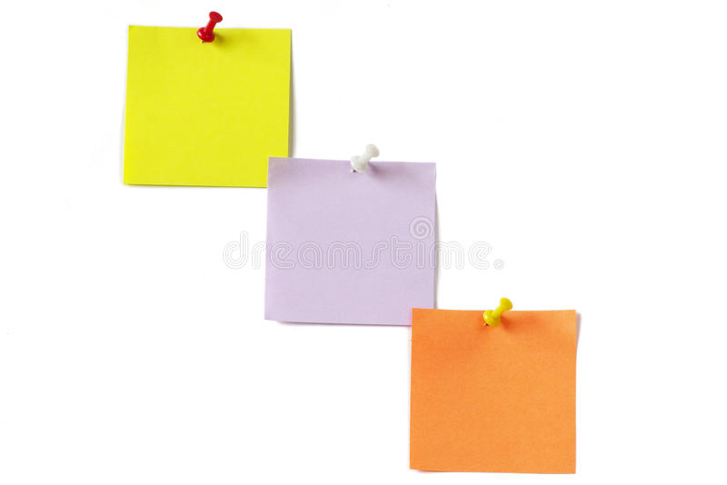 Download Three Colored Notes With Push-pins Stock Photo - Image: 10229236