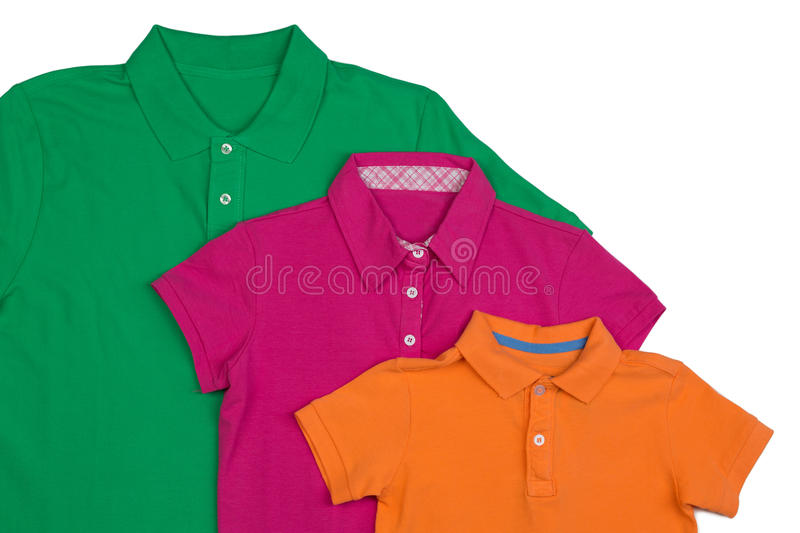 Three colored polo shirt close-up. Isolate on white royalty free stock photo