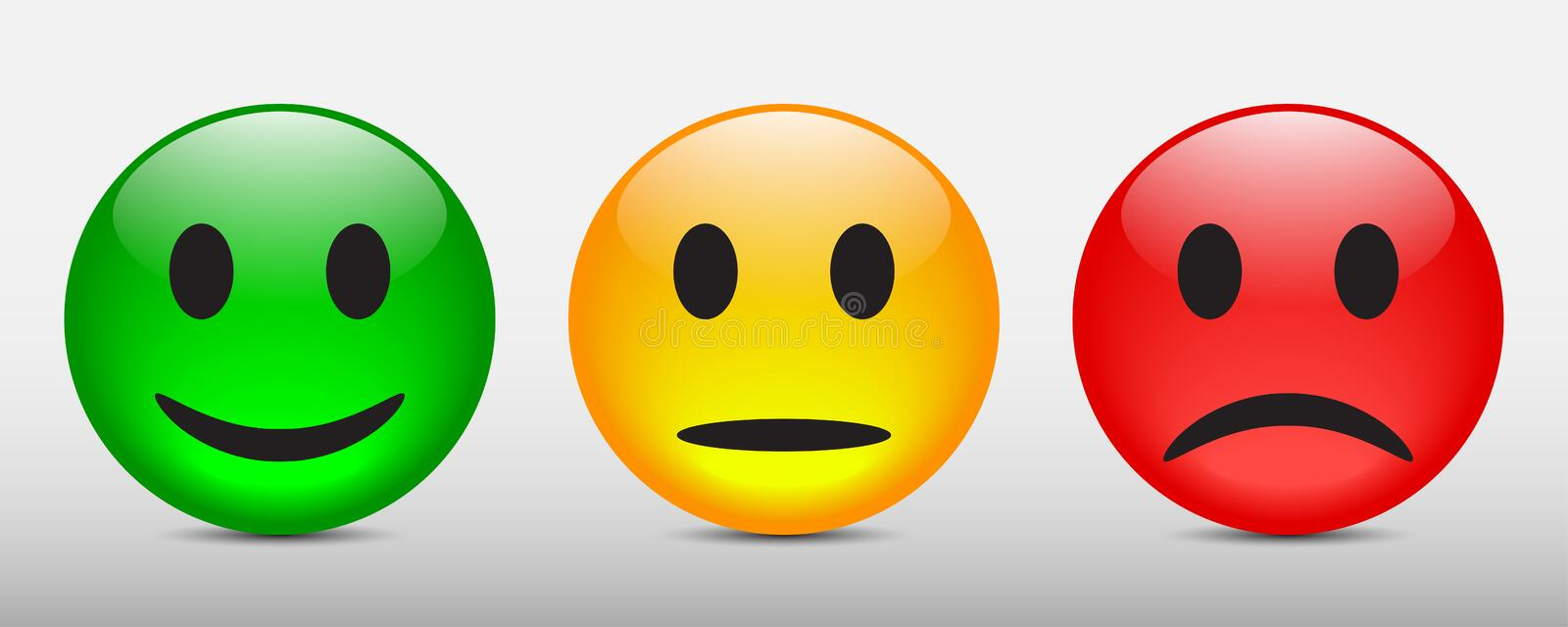 Three colored smilies, set smiley emotion, by smilies, cartoon emoticons - vector. Three colored smilies, set smiley emotion, by smilies, cartoon emoticons - for stock illustration