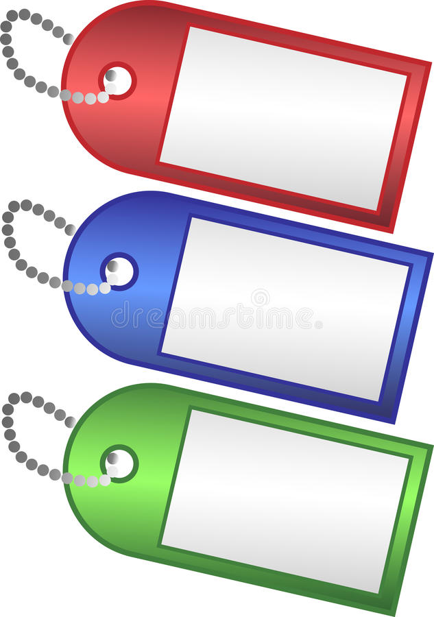 Three Colored Tags Stock Photos