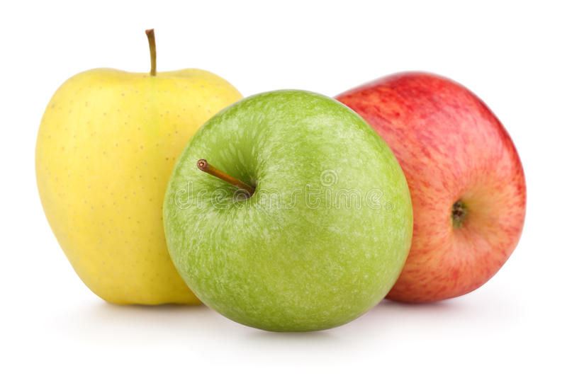 Three colorful apples. Yellow, green and red apples isolated on white royalty free stock photos