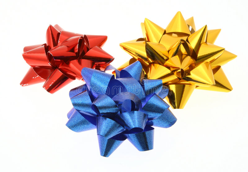 Three colorful bows on white background stock image