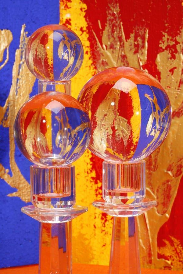 Three colorful crystal balls royalty free stock image