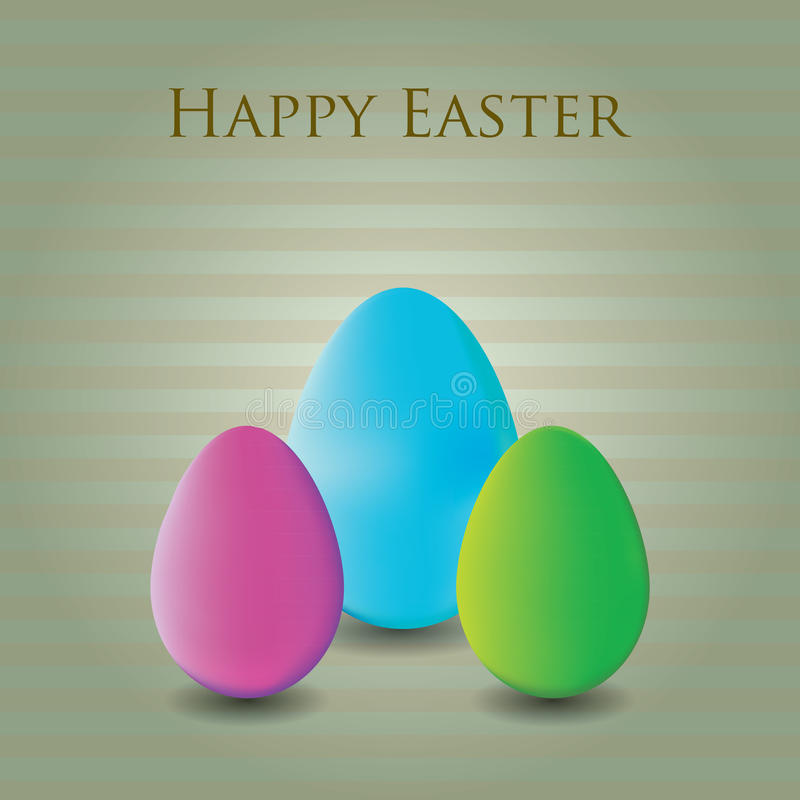 Three colorful easter eggs in striped background vector illustration