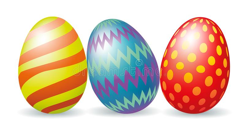 Three colorful Easter eggs. Isolated on white royalty free illustration