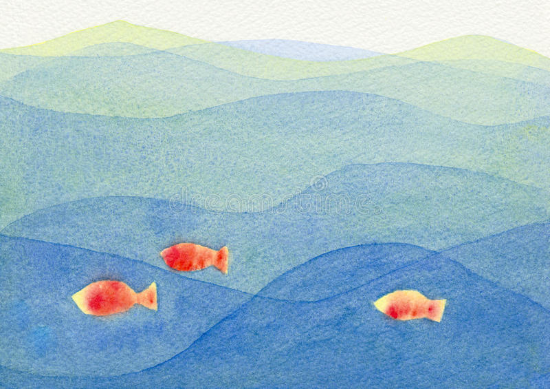 Three colorful fish swimming in a blue ocean. Watercolor illustration showing three fish swimming in a blue ocean stock illustration