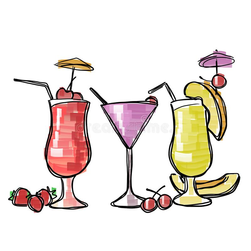 Tree colorful glasses with cocktails vector illustration