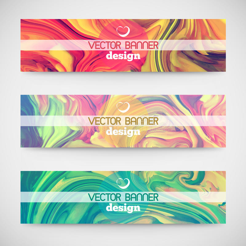 Three colorful horizontal banners. Marble texture. stock illustration