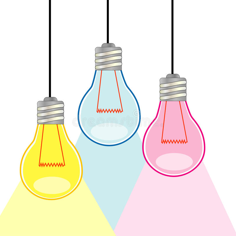 Download Three Colorful light bulbs stock vector. Image of yellow - 30862877