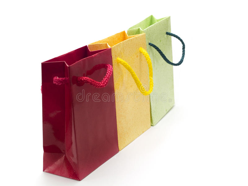 Three colorful presents. Presents isolated on white background stock photo